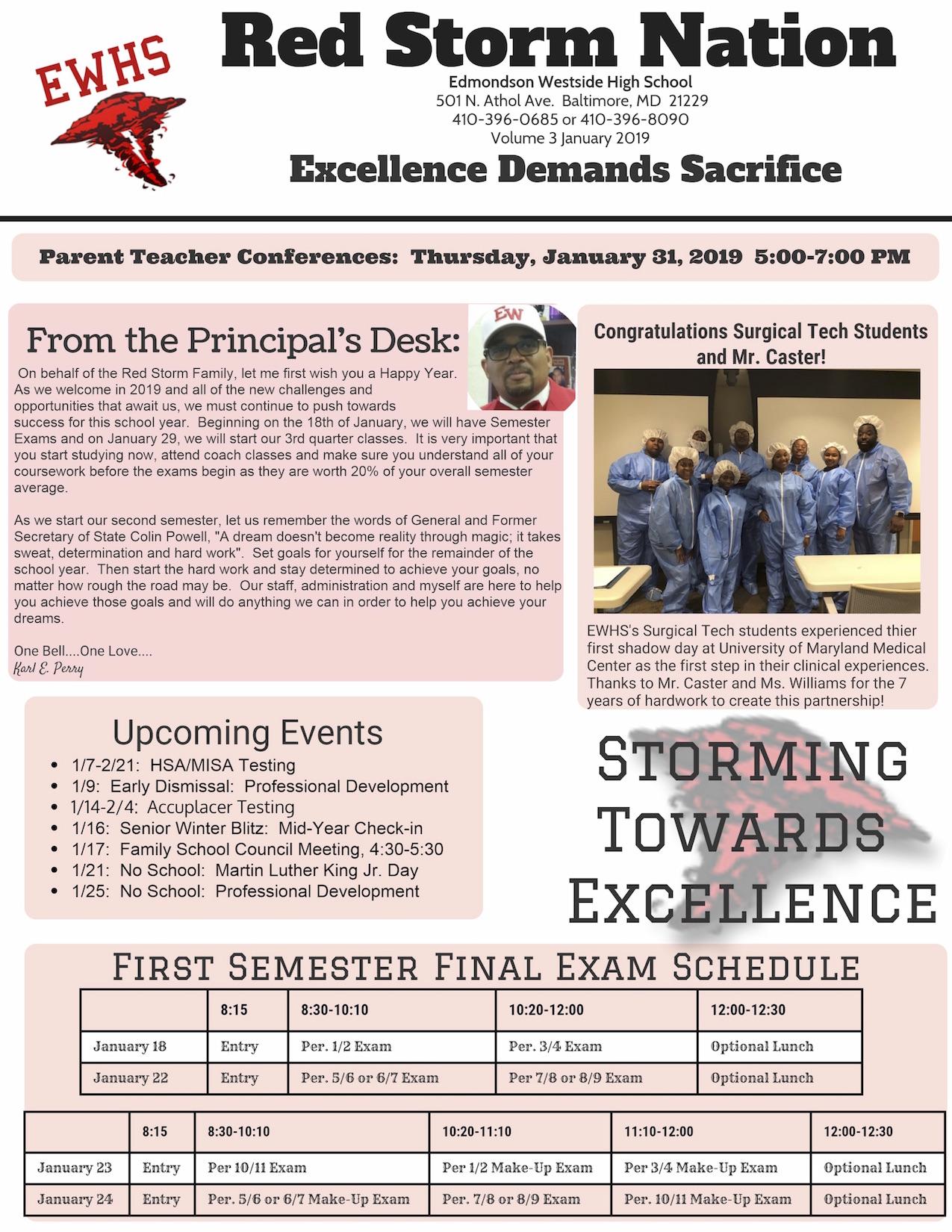 Baltimore City Schools Calendar.Edmondson Westside High School